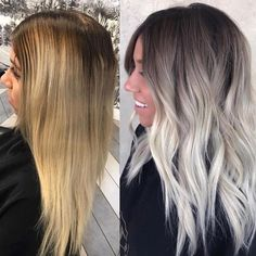 Hair Color Trends In 2019 Before & After: Highlights On Hair + Tips; Hairstyles, Hair Color Trends In 2019 Before & After: Highlights On Hair + Tips;Trendy Hairstyles And Colors Women Hair Colors; Pelo Color Ceniza, Balayage Hair Blonde, Haircolor, Blonde To Silver Hair, Ash Balayage, Platnium Blonde Hair, Blonde Hair With Dark Roots, Balyage Hair, Ashy Hair