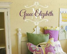 Nursery Wall Decal  Personalized Initial and by openheartcreations, $45.00