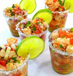 """Cooking Terms I've learned from cooking shows - """"Ceviche,"""" raw fish usually prepared in some type of citrus. Individual Ceviche Cups, how fun for Cinco or party where Mexican food is served. Keeping this """"nugget""""! Seafood Dishes, Seafood Recipes, Mexican Food Recipes, Appetizer Recipes, Cooking Recipes, Healthy Recipes, Seafood Appetizers, Cooking Tips, Drink Recipes"""