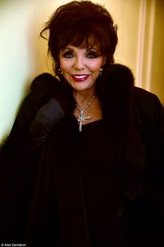 Joan Collins steps out in London as she's made a Dame Legend: The defied her years and looked as glamorous as ever in a fur-trimmed coat, black dress, evening gloves and silver jewellery Dame Joan Collins, Lily Collins, V Drama, Alexis Carrington, Der Denver Clan, St Joan, Nyc, Joan Crawford, Dangerous Woman
