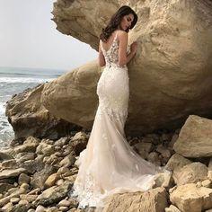 #wedding #spring # nude #bridal #dress #bride #lace #romantic #mermaid #light #bridaldress #beige #long #
