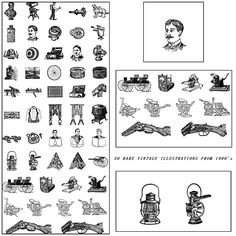 Description: Set of 50 rare vector images with vintage illustrations from early 1900's with guns, portraits, machines etc. for your unique designs. Free for download. File format: .eps for Photoshop or other vector software. File size: 32 Mb.