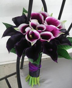 cascading+bouquets+for+weddings+purple+and+green | Silk Wedding Bouquet, Dark Purple Calla Lily Bouquet