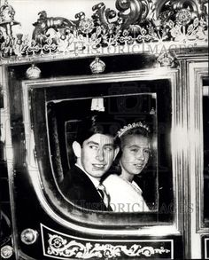 Princess Anne, wearing the Cartier Scroll tiara, on her way to the State Opening of Parliament 1967, with her brother, Charles