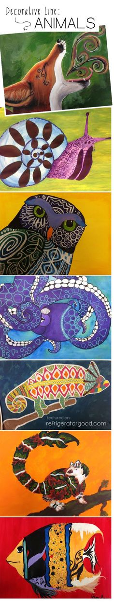 High School Acrylic Lesson - Easy Acrylic Painting - Decorative Line Animals
