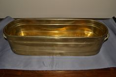 Oblong Brass Planter Pot w/ Handles Vintage