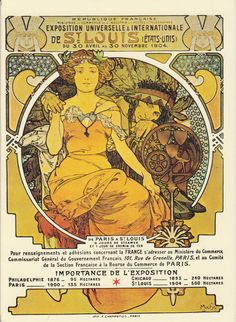 """""""St. Louis"""", by Alfons Mucha, 1904 St. Louis World's Fair Poster repro card"""