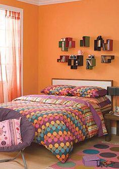 Foto de habitación unisex de adolescente con motivos naranjas