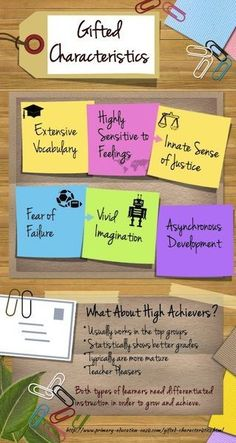 The characteristics of gifted learners and high achievers - differentiated lessons are important for both of them!