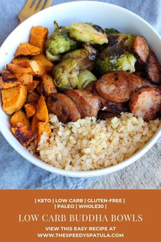 Low Carb Buddha Bowls are a great Keto Buddha Bowl meal that is also gluten-free Paleo Buddha Bowls and Buddha Bowls. Low Carb Buddha Bowls are a great Keto Buddha Bowl meal that is also gluten-free Paleo Buddha Bowls and Buddha Bowls. Healthy Dinner Recipes, Whole Food Recipes, Cooking Recipes, Healthy Low Carb Meals, Whole Foods, Whole 30 Meals, Carb Free Meals, Gluten Free Meals, Healthy Meals For One