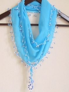 Traditional Turkish AQUA BLUE  Oya Scarfauthentic by asuhan, $19.90