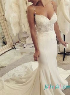 H1583 Elegant tight mermaid wedding dress with spaghetti straps
