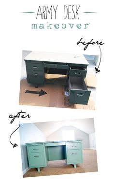 Vintage Metal Army Desk {before & after} - DIY Desk Ideen Metal Desk Makeover, Desk Redo, Office Makeover, Diy Desk, Furniture Makeover, Furniture Projects, Diy Furniture, Furniture Plans, Restoring Furniture