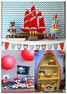 anniversaire_garçon_pirates_candy_bar_peinture bateau barque corsaire