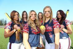 softball team photo poses | SRJC softball players, from left, Krissy Pardoski, Samantha Bartee ...