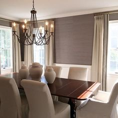 This dining room has been a labor of love. With newly installed grasscloth wallpaper, chandelier, custom drapes and now furniture, I'm excited about all the finishing touches to come! #sparrowbranchinteriors #diningroom #interiordesign #decor
