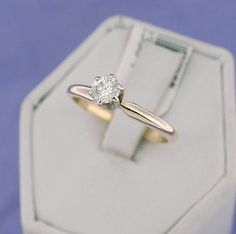 14K Yellow Gold 0.40 Round Brilliant RBC Diamond Solitaire Engagement Ring 585