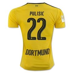 89694a1b1 Christian Pulisic 22 2016 17 Der BVB Yellow Black Home Soccer Jersey  Football Shirt Camiseta De Fútbol Trikot Maglia