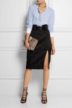 Altuzarra for Target|Pinstriped crepe de chine shirt tucket into a sleek pencil skirt, waist belt, lace-up sandals and clutch|NET-A-PORTER.COM