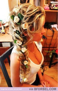 "b for bel: Awesome Hair: Rapunzel's Hair in ""Tangled"" #Disney >> maybe w less flowers. This is pretty"