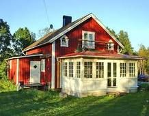 Swedish Cottage, Red Cottage, Cottage Homes, This Old House, House With Porch, My House, Glass Porch, German Houses, Sweden House