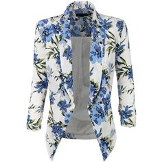 LE3NO Womens Textured 3/4 Sleeve Floral Print Draped Blazer Jacket ($30) ❤ liked on Polyvore featuring outerwear, jackets, blazers, floral print blazer, flower print jacket, floral jacket, textured blazer y collar jacket