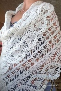New Lace Shawl Samples and Structures, # shal . Crochet Prayer Shawls, Crochet Shawls And Wraps, Knitted Shawls, Crochet Scarves, Crochet Clothes, Gilet Crochet, Crochet Lace, Crochet Stitches, Free Crochet