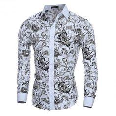 Floreada de Camisa manga Camisa Camisa retro larga hombres los Vaquera de Uniforme Camisa wp4OZFOqcB