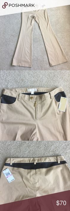 NWT Michael Kors Khaki pants Cute khaki pants by MK. New with tags. Has faux dark brown leather pockets and faux leather patch around waist at the back! Pants are stretchy! Super cute. Size 10 women's. Retail price $150 MICHAEL Michael Kors Pants Boot Cut & Flare