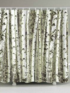 Birches Trunk Printed Shower Curtain with Hooks - COLORMIX W71INCH * L79INCH