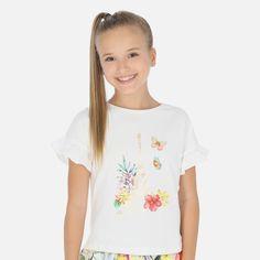 Bluzka bawełniana z krótkim rękawkiem dla junior girl od Mayoral Amelie, A Boutique, Shirts For Girls, Paris, Sleeves, Tops, Fashion, Diy Shorts, Boys T Shirts