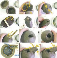 Own instructional image for making clay whistles