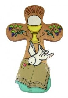 EL SLAVADOR CROSS WITH BIBLE 27CM: This cross was hand painted in El Salvador and is 27cm tall. It has a rounded shape and parts of the design sticking out. The bottom features the Holy Spirit dove over a Bible. The top depicts the chalice and host bordered by grapes and wheat. Great gift for First Communion. This Product was handmade by groups from small artisan villages in El Salvador.