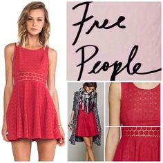 "Free People Red Daisy Waist Mini Dress.  NWT. Free People Red Daisy Waist Mini Dress, 80% cotton, 20% nylon, washable, 17.75"" armpit to armpit (35.5"" all around) 33"" waist (no stretch), 34"" length, delicate scoop neckline pointelle knit dress, sheer floral waist, embroidered daisy detail at waist, lined, concealed back zip closure, measurements are approx.  ...No Trades... Free People Dresses Mini"
