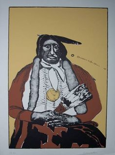 Indian with Feather Fan  by fritz scholder kK