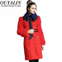 L- Removable Collared Casual Wool Coat Faux Fur Long Sleeve Twon Pokcets Single Breasted Red White Just look, that`s outstanding! Visit us Diva Fashion, Fashion 2017, Skirt Fashion, Trendy Fashion, Fashion Trends, Fashion Group, All About Fashion, Passion For Fashion, Dresser