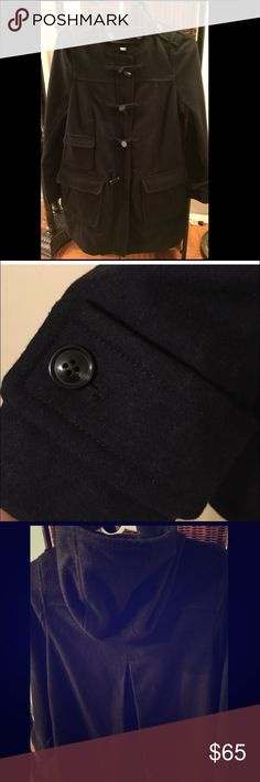 [ GAP ] Black Toggle Coat Flash Sale, Winter Coat Duffle Coat with Zipper Closure And Large Front Pockets! Great Coat Wool And Polyester, Dry Clean. Coat Length 36 1/2 Inches. Worn once. GAP Other