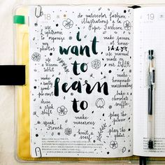 pepperandtwine:There are so many things I want to learn to do, some more realistic than others #hobonichi #stationery #handwriting #handwritten #handlettering #lettering #type #typography #brushpen #brushlettering #calligraphy #midori #mtn #travelersnotebook #filofax #planner #diary #notebook #organizer #agenda #doodles #doodling #illustration #vscocam #journal #journaling #artjournal #artjournaling