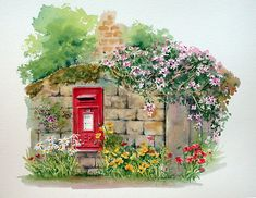 "''Village Postbox"" Watercolour painting  by artist Ann Mortimer"