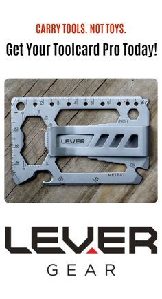 The Lever Gear Toolcard Pro. Credit card-sized multitool with 40 tools. Made in America from heat-treated 420 stainless steel. Detachable money clip. TSA compliant. Lifetime guarantee. Can be customized with your personal message or logo. Carry tools, not toys. #everydaycarry