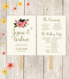 Wedding Program Fan Printable / Wedding Fan / by JadeForestDesign
