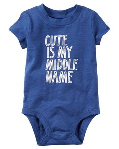 Carter's Cute Is My Middle Name Bodysuit, Baby Boys months) - Blue 18 months Baby Boy Middle Names, Cool Middle Names, Toddler Outfits, Baby Boy Outfits, Kids Outfits, Carters Baby Boys, Baby Kids, Baby Names Scottish, Family Tees