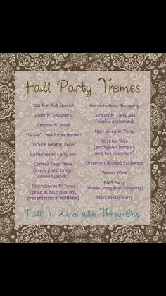 Thirty-One fall party themes. Who's ready to party! Thirty One Fall, Thirty One Party, Thirty One Gifts, 31 Party, Host A Party, Party Time, Fall Party Themes, Party Ideas, Theme Parties