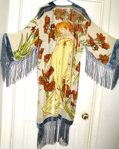 SWEET Art deco lady floral silk burnout by THEHIPPIEGYPSYVTG, $199.00