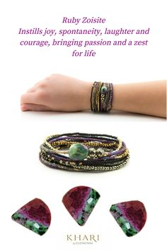 #Ruby Zoisite center gemstone, three separate strands sold as one set.