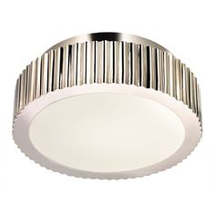 """Paramount Two-Light  - Polished Nickel with Polished Nickel Metal Shade - Light Fixture, 2 60 watt, 12.5""""W, $540. (too expensive but very pretty)"""
