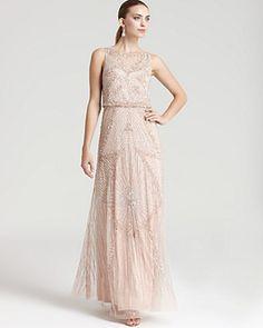 Aidan Mattox Beaded Gown - Sleeveless Cinched Waist | Bloomingdales