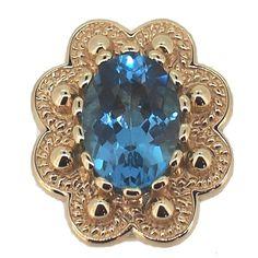14k Yellow Gold Glatter Blue Topaz Victorian Bracelet Slide #bluetopaz #slide at generousgems.com