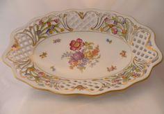 ♪ Ovale Durchbruchschale Schumann Bavaria Arzberg ♪  Wundervolle alte (1930er?), filigrane Durchbruchschale mit Goldauflage und Blütendekor- ovale For
