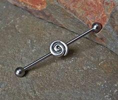 Industrial Barbell Silver Swirl 14ga Body Jewelry Ear Jewelry Double Piercing
